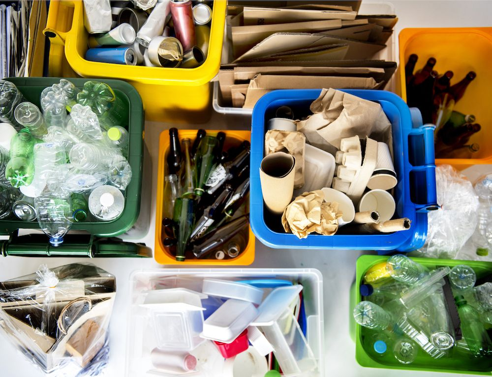 bins of different products that you can recycle